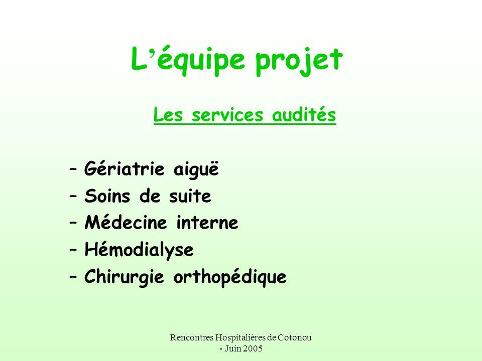 Rencontres Hospitalières de Cotonou - Juin 2005 L équipe projet Les services audités –Gériatrie aiguë –Soins de suite –Médecine interne –Hémodialyse –