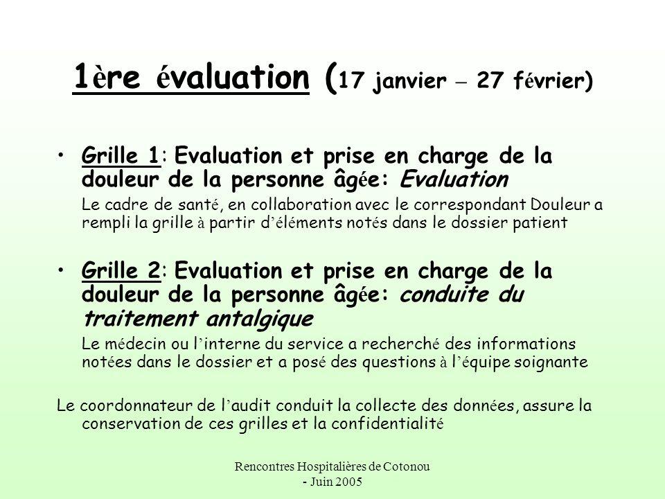 Rencontres Hospitalières de Cotonou - Juin 2005 1 è re é valuation ( 17 janvier – 27 f é vrier) Grille 1: Evaluation et prise en charge de la douleur