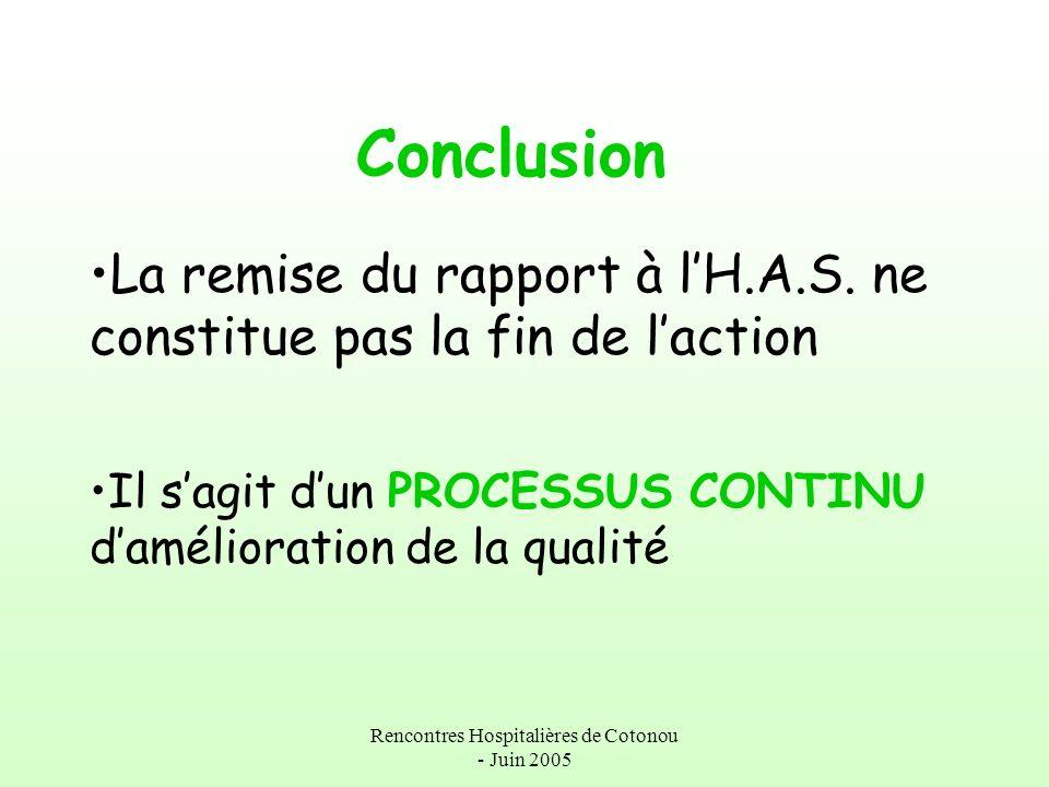Rencontres Hospitalières de Cotonou - Juin 2005 Conclusion La remise du rapport à lH.A.S. ne constitue pas la fin de laction Il sagit dun PROCESSUS CO