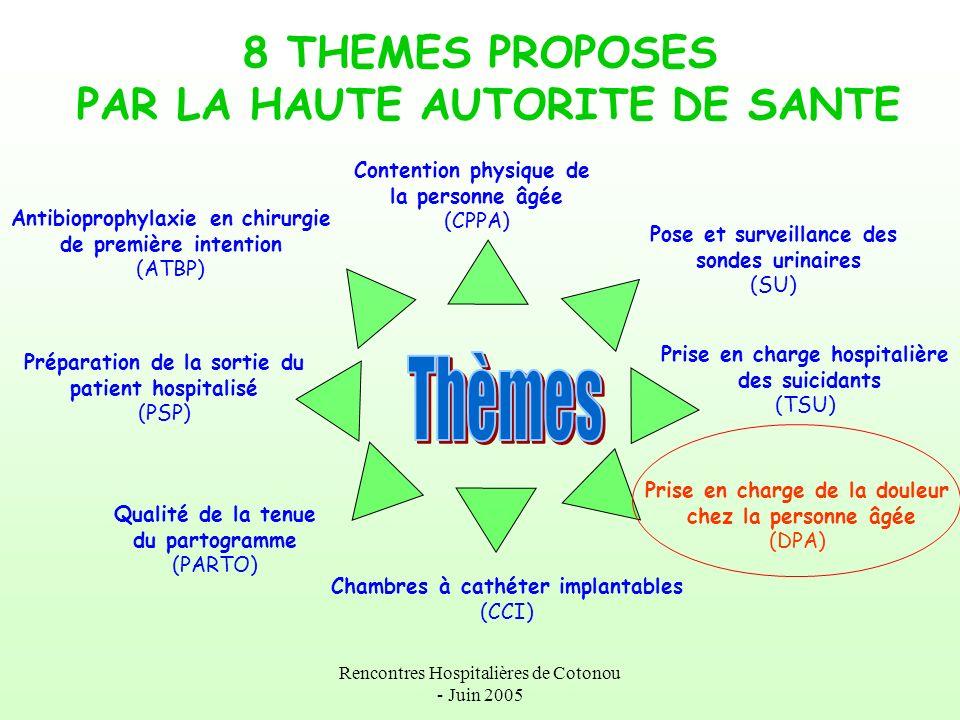 Rencontres Hospitalières de Cotonou - Juin 2005 Les 3 thèmes choisis par le Centre Hospitalier de Laval 1.