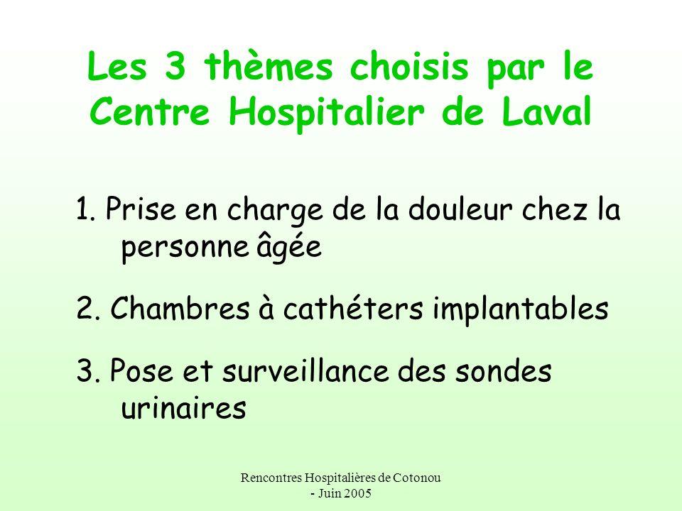 Rencontres Hospitalières de Cotonou - Juin 2005 Les 3 thèmes choisis par le Centre Hospitalier de Laval 1. Prise en charge de la douleur chez la perso