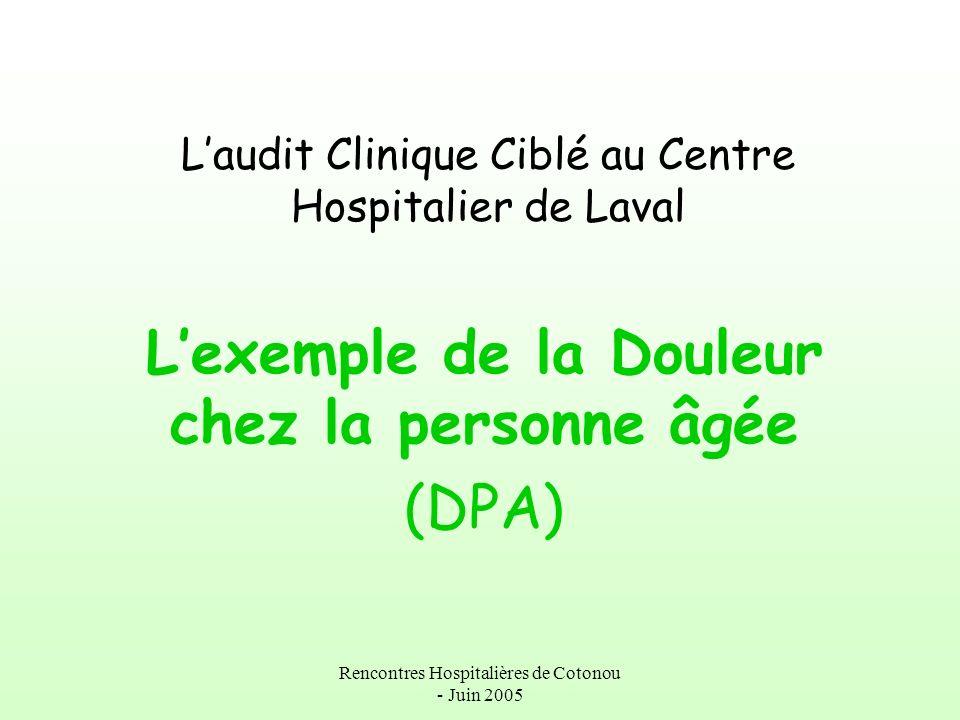 Rencontres Hospitalières de Cotonou - Juin 2005 Laudit Clinique Ciblé au Centre Hospitalier de Laval Lexemple de la Douleur chez la personne âgée (DPA
