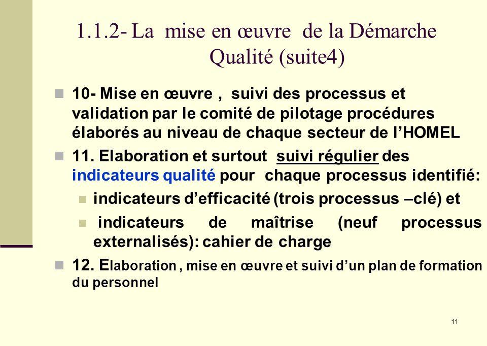 11 1.1.2- La mise en œuvre de la Démarche Qualité (suite4) 10- Mise en œuvre, suivi des processus et validation par le comité de pilotage procédures é