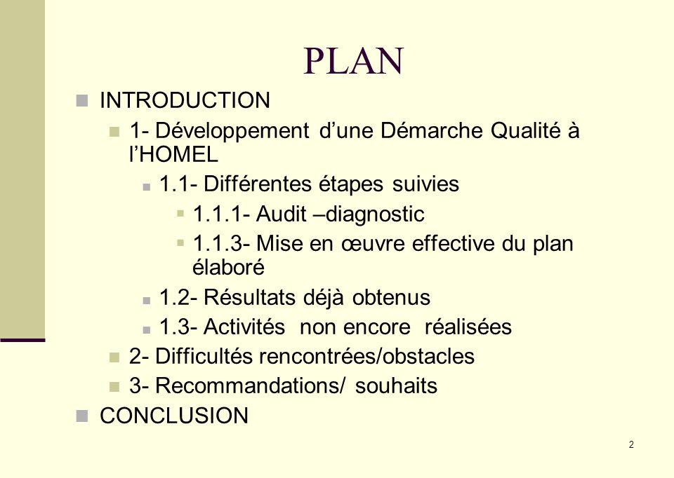 2 PLAN INTRODUCTION 1- Développement dune Démarche Qualité à lHOMEL 1.1- Différentes étapes suivies 1.1.1- Audit –diagnostic 1.1.3- Mise en œuvre effe