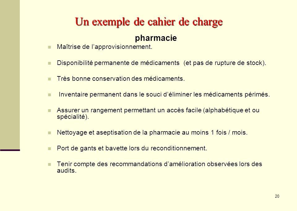 20 Un exemple de cahier de charge pharmacie Maîtrise de lapprovisionnement. Maîtrise de lapprovisionnement. Disponibilité permanente de médicaments (e