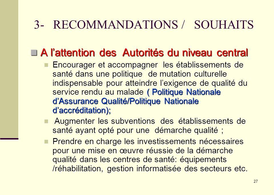 27 3- RECOMMANDATIONS / SOUHAITS A lattention des Autorités du niveau central A lattention des Autorités du niveau central Encourager et accompagner l