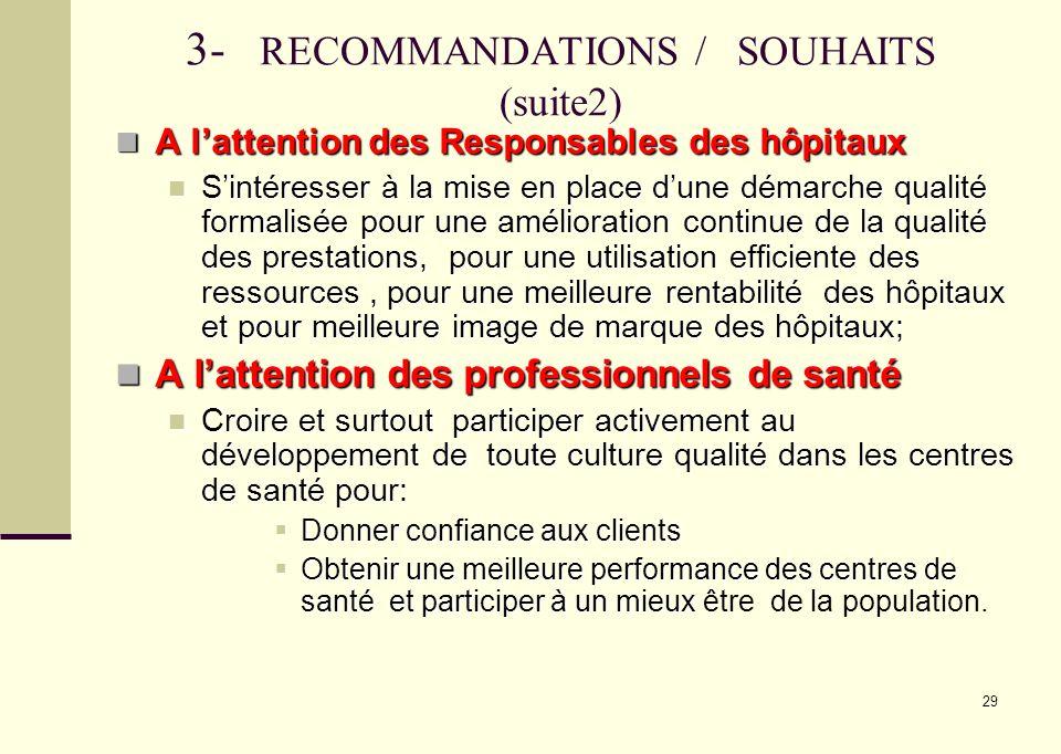 29 3- RECOMMANDATIONS / SOUHAITS (suite2) A lattention des Responsables des hôpitaux A lattention des Responsables des hôpitaux Sintéresser à la mise