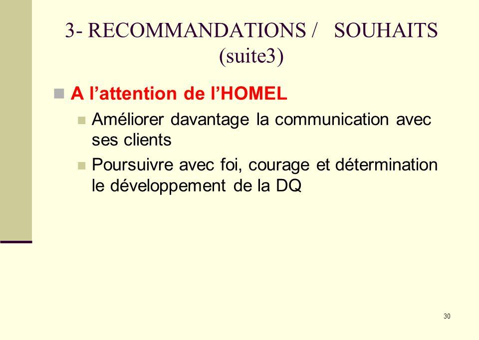 30 3- RECOMMANDATIONS / SOUHAITS (suite3) A lattention de lHOMEL Améliorer davantage la communication avec ses clients Poursuivre avec foi, courage et