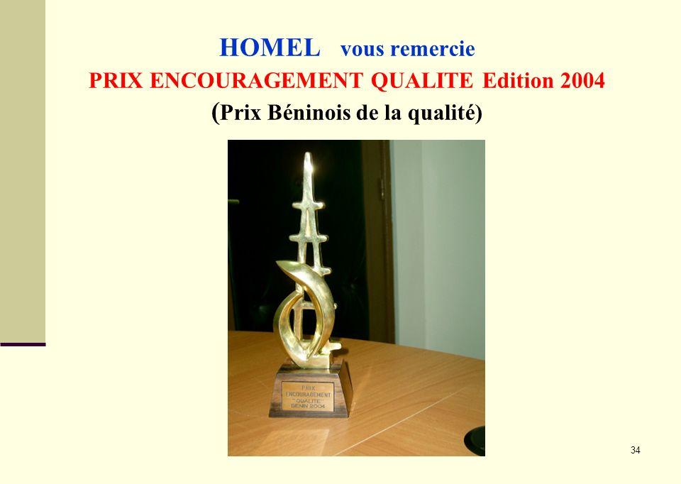 34 HOMEL vous remercie PRIX ENCOURAGEMENT QUALITE Edition 2004 ( Prix Béninois de la qualité)
