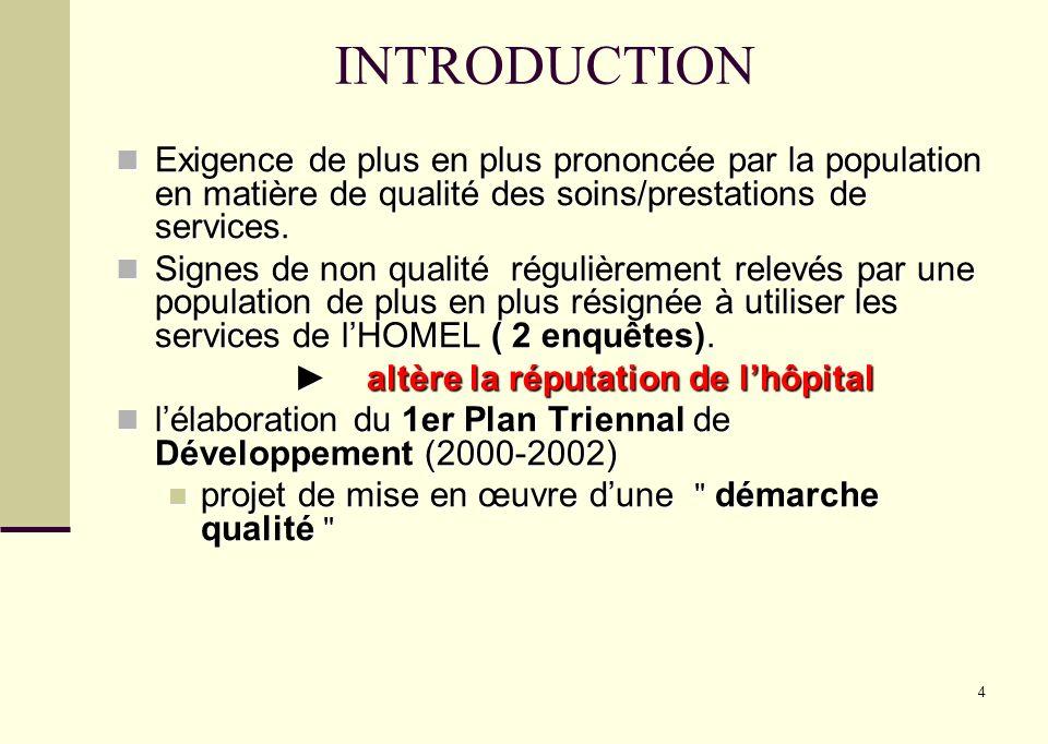 4 INTRODUCTION Exigence de plus en plus prononcée par la population en matière de qualité des soins/prestations de services. Exigence de plus en plus
