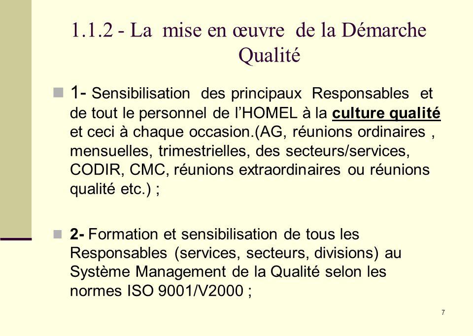7 1.1.2 - La mise en œuvre de la Démarche Qualité 1- Sensibilisation des principaux Responsables et de tout le personnel de lHOMEL à la culture qualit