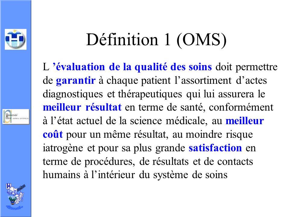 Définition 1 (OMS) L évaluation de la qualité des soins doit permettre de garantir à chaque patient lassortiment dactes diagnostiques et thérapeutique