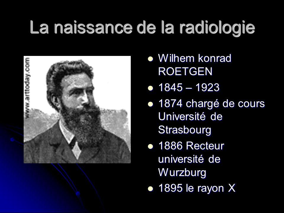 La naissance de la radiologie Wilhem konrad ROETGEN Wilhem konrad ROETGEN 1845 – 1923 1845 – 1923 1874 chargé de cours Université de Strasbourg 1874 c