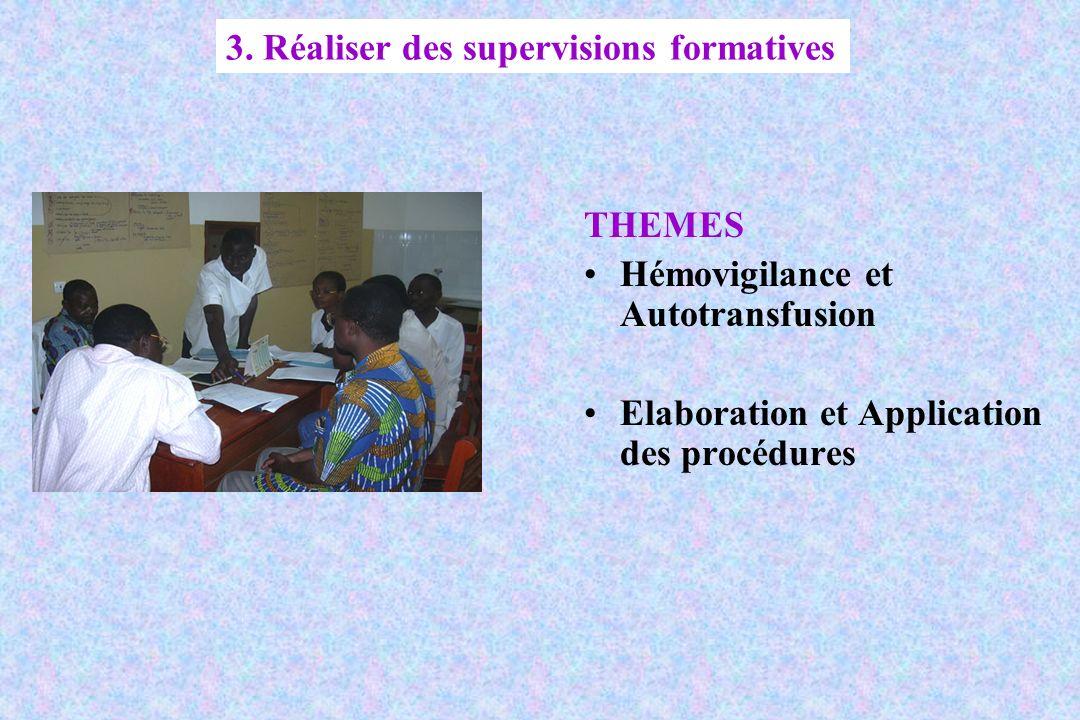 THEMES Hémovigilance et Autotransfusion Elaboration et Application des procédures 3. Réaliser des supervisions formatives