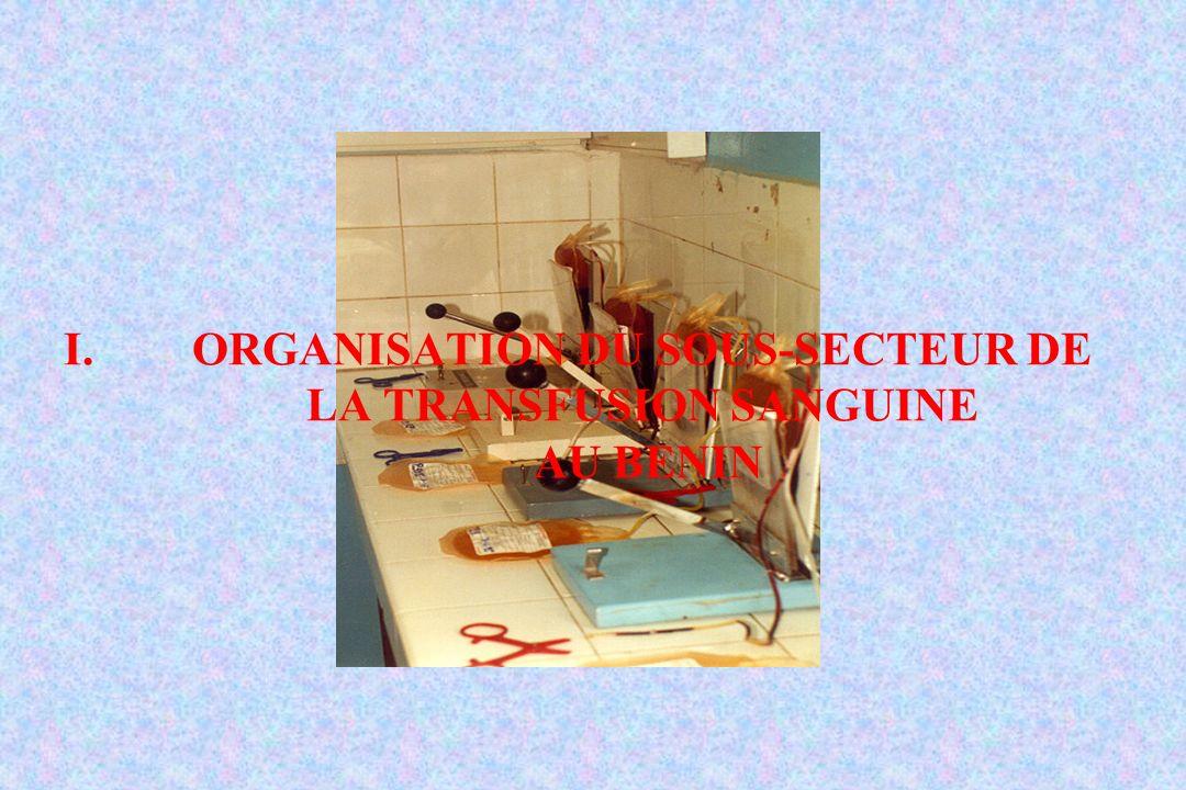 I.ORGANISATION DU SOUS-SECTEUR DE LA TRANSFUSION SANGUINE AU BENIN