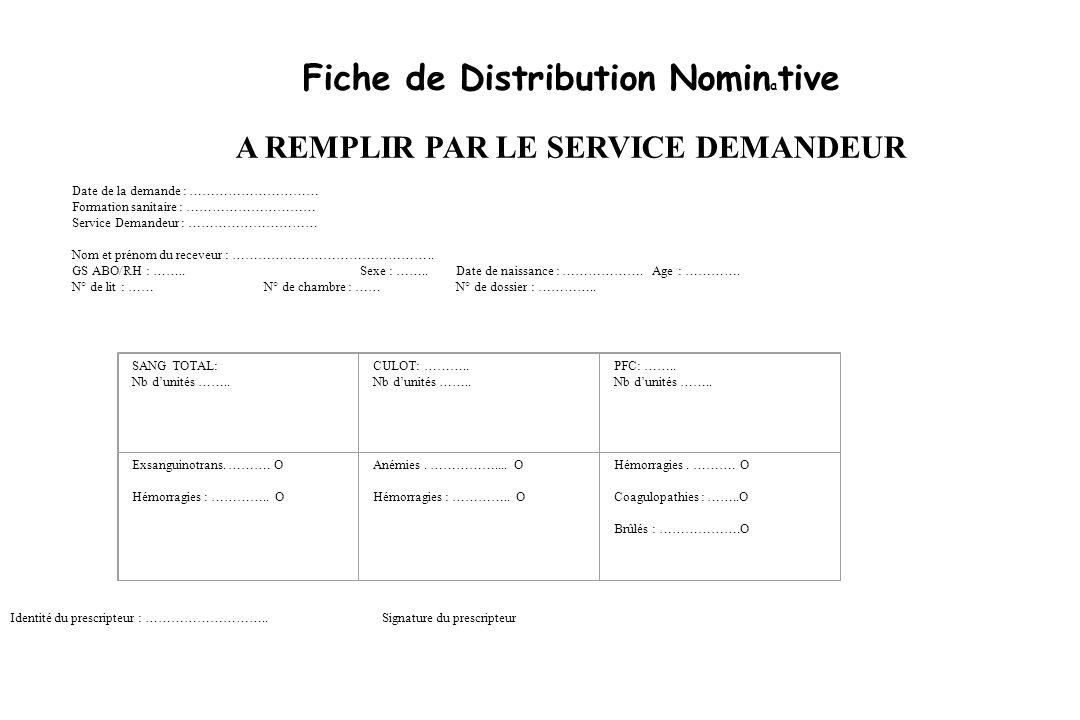Fiche de Distribution Nomin a tive A REMPLIR PAR LE SERVICE DEMANDEUR Date de la demande : ………………………… Formation sanitaire : ………………………… Service Demande