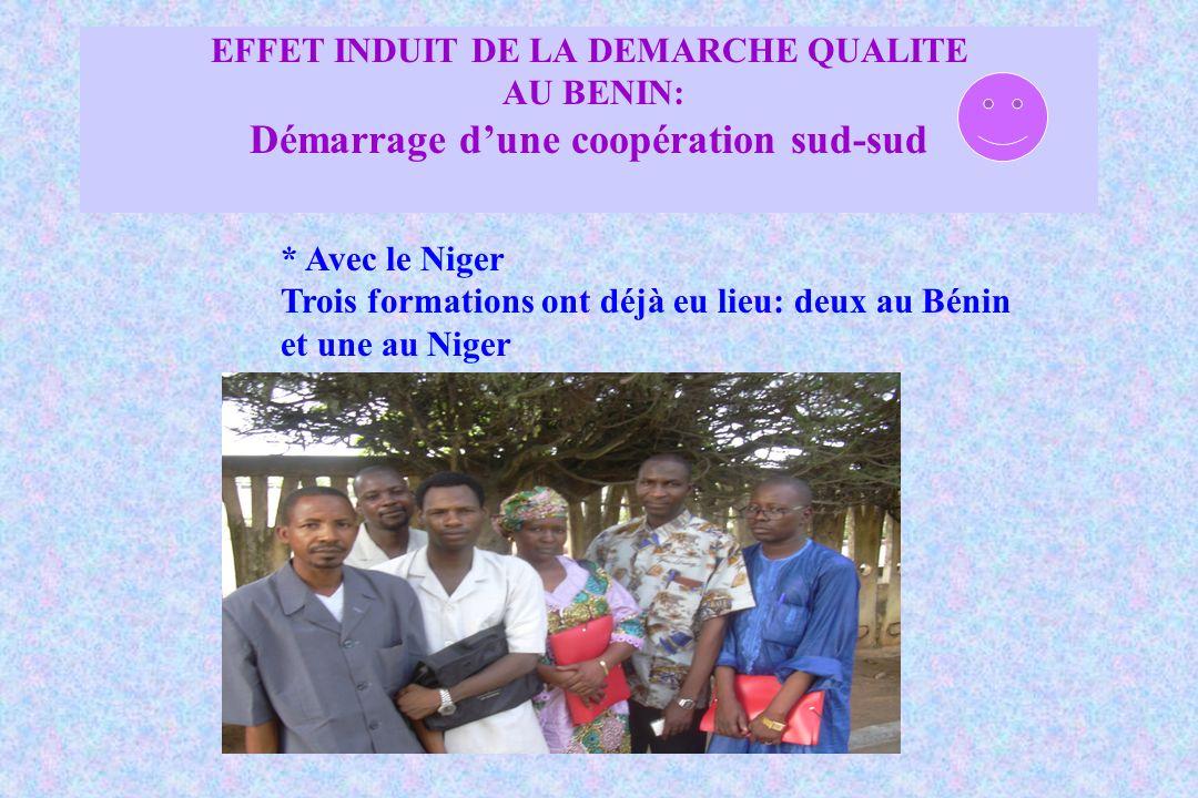 EFFET INDUIT DE LA DEMARCHE QUALITE AU BENIN: Démarrage dune coopération sud-sud * Avec le Niger Trois formations ont déjà eu lieu: deux au Bénin et u