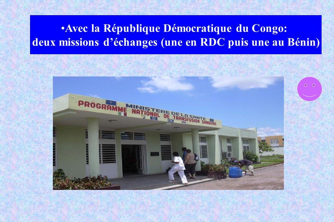 Avec la République Démocratique du Congo: deux missions déchanges (une en RDC puis une au Bénin)