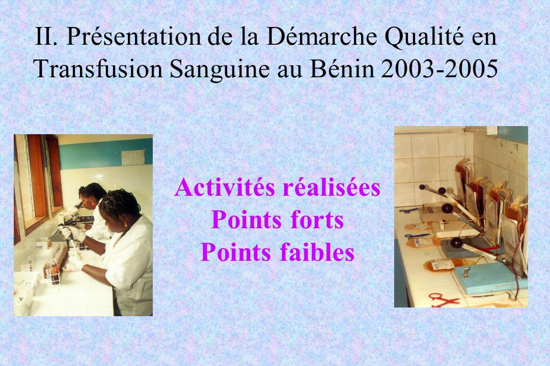II. Présentation de la Démarche Qualité en Transfusion Sanguine au Bénin 2003-2005 Activités réalisées Points forts Points faibles