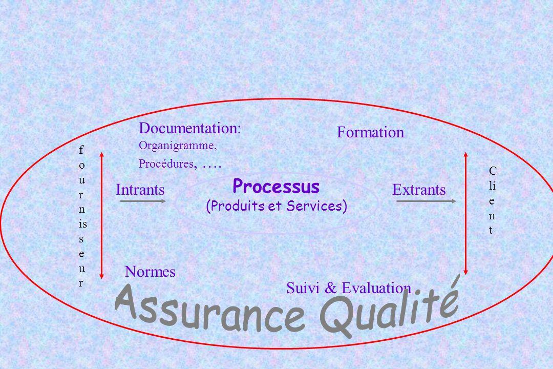 Processus (Produits et Services) f o u r n is s e u r C li e n t IntrantsExtrants Normes Formation Suivi & Evaluation Documentation: Organigramme, Pro