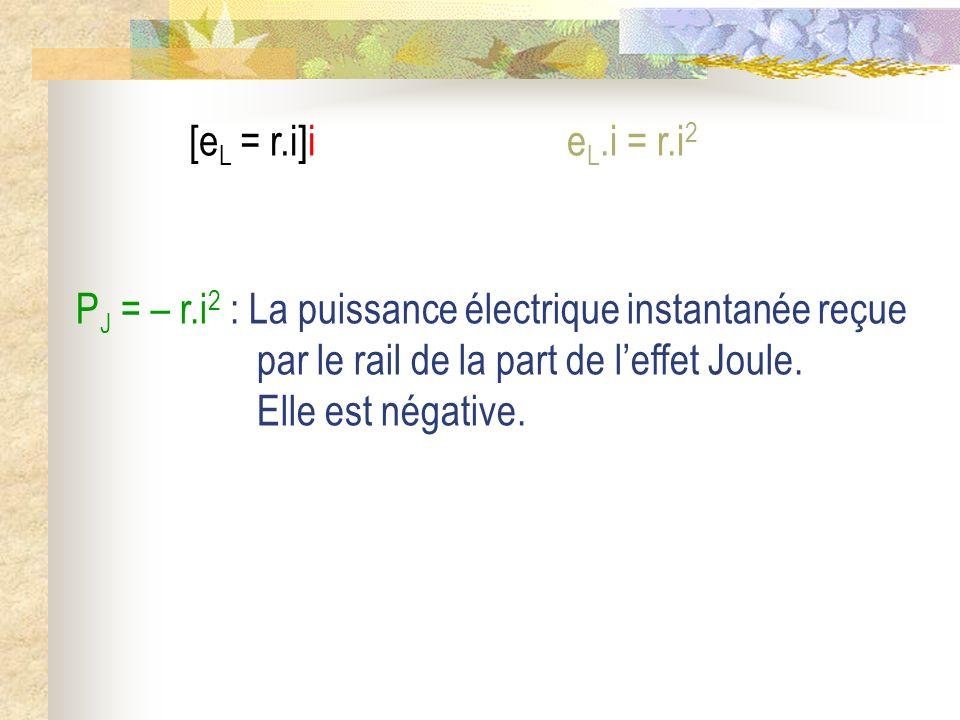 P J = – r.i 2 : La puissance électrique instantanée reçue par le rail de la part de leffet Joule. Elle est négative. [e L = r.i]ie L.i = r.i 2