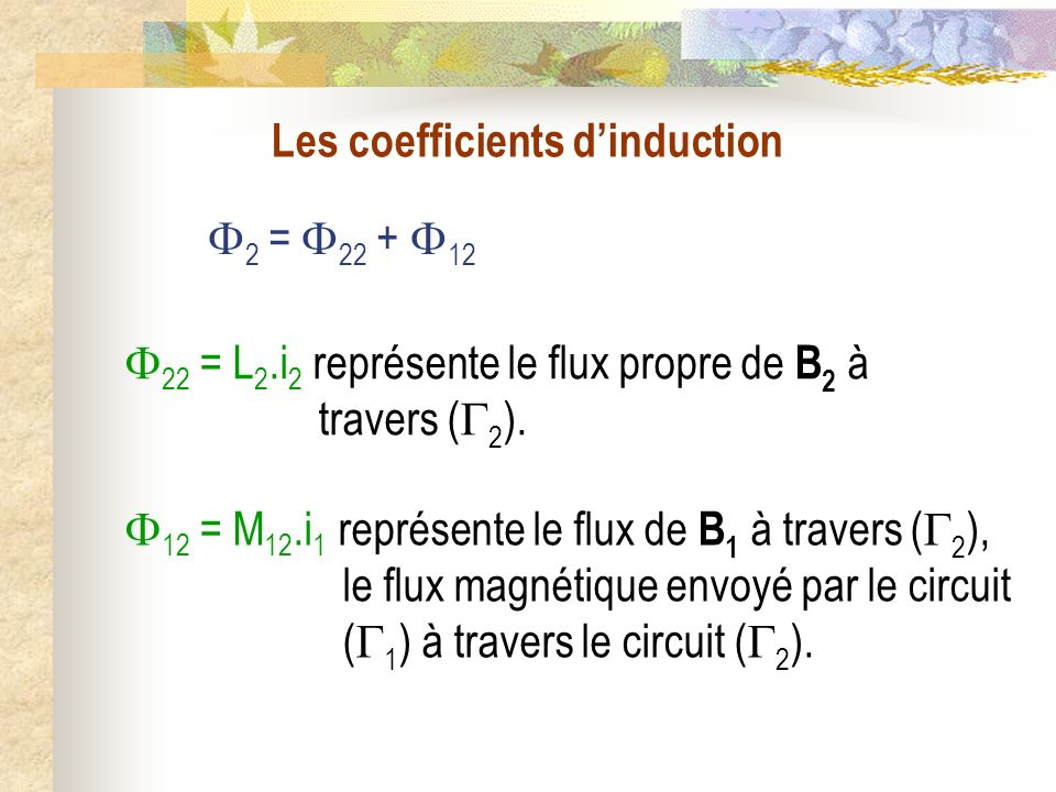 Les coefficients dinduction 2 = 22 + 12 22 = L 2.i 2 représente le flux propre de B 2 à travers ( 2 ). 12 = M 12.i 1 représente le flux de B 1 à trave