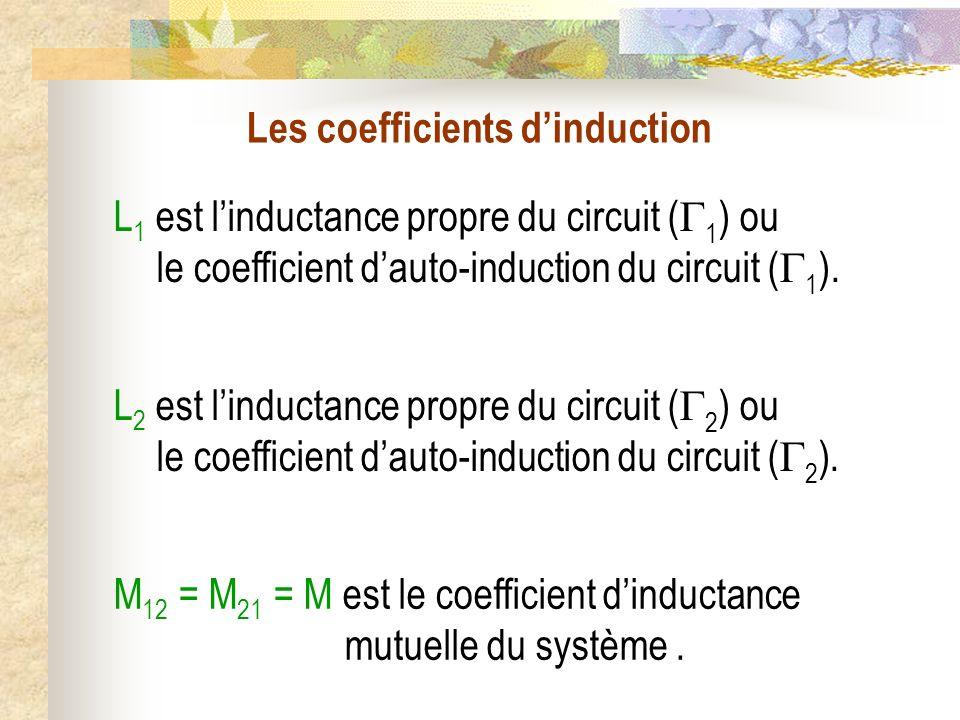 Les coefficients dinduction L 1 est linductance propre du circuit ( 1 ) ou le coefficient dauto-induction du circuit ( 1 ). M 12 = M 21 = M est le coe