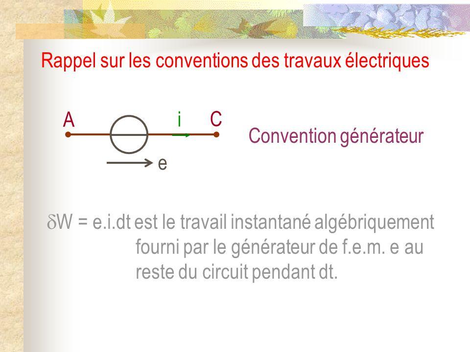Rappel sur les conventions des travaux électriques A C e i W = e.i.dt est le travail instantané algébriquement fourni par le générateur de f.e.m. e au
