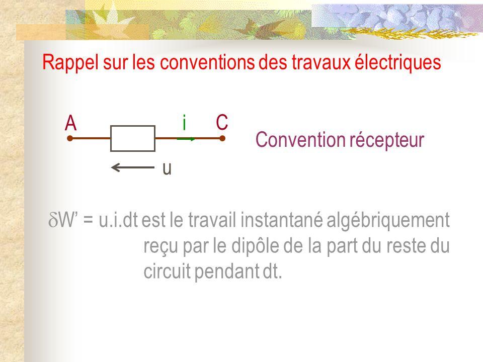 Rappel sur les conventions des travaux électriques W = u.i.dt est le travail instantané algébriquement reçu par le dipôle de la part du reste du circu