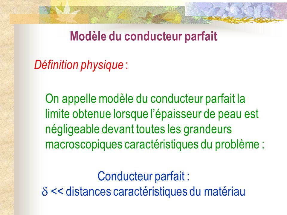 Modèle du conducteur parfait Conducteur parfait : << distances caractéristiques du matériau On appelle modèle du conducteur parfait la limite obtenue