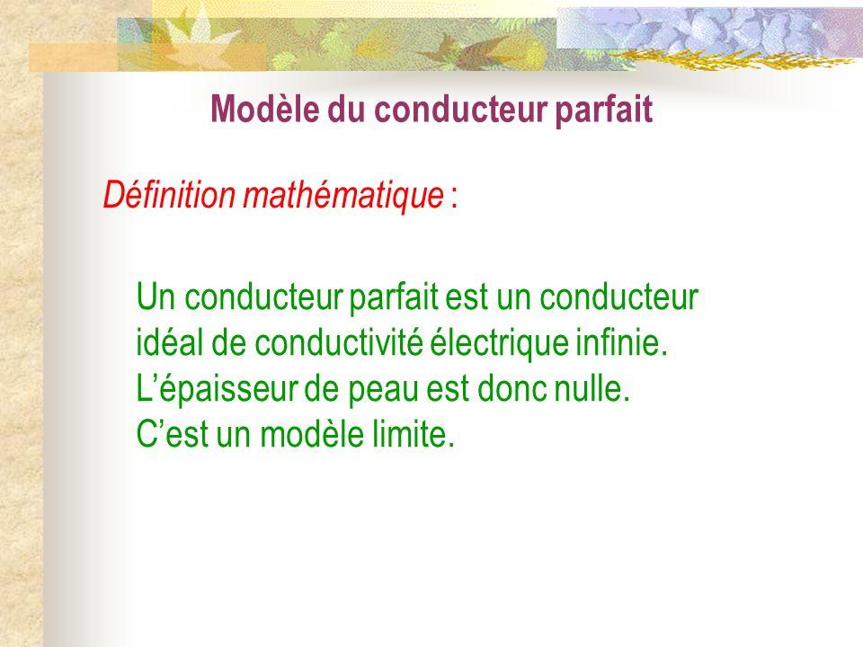 Modèle du conducteur parfait Un conducteur parfait est un conducteur idéal de conductivité électrique infinie. Lépaisseur de peau est donc nulle. Cest