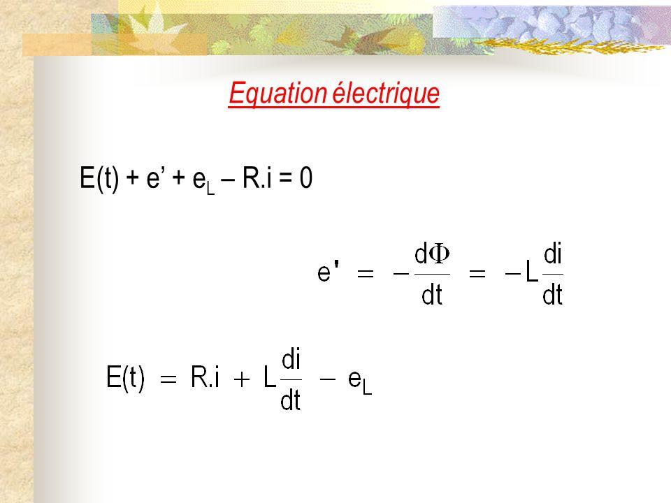 Equation électrique E(t) + e + e L – R.i = 0