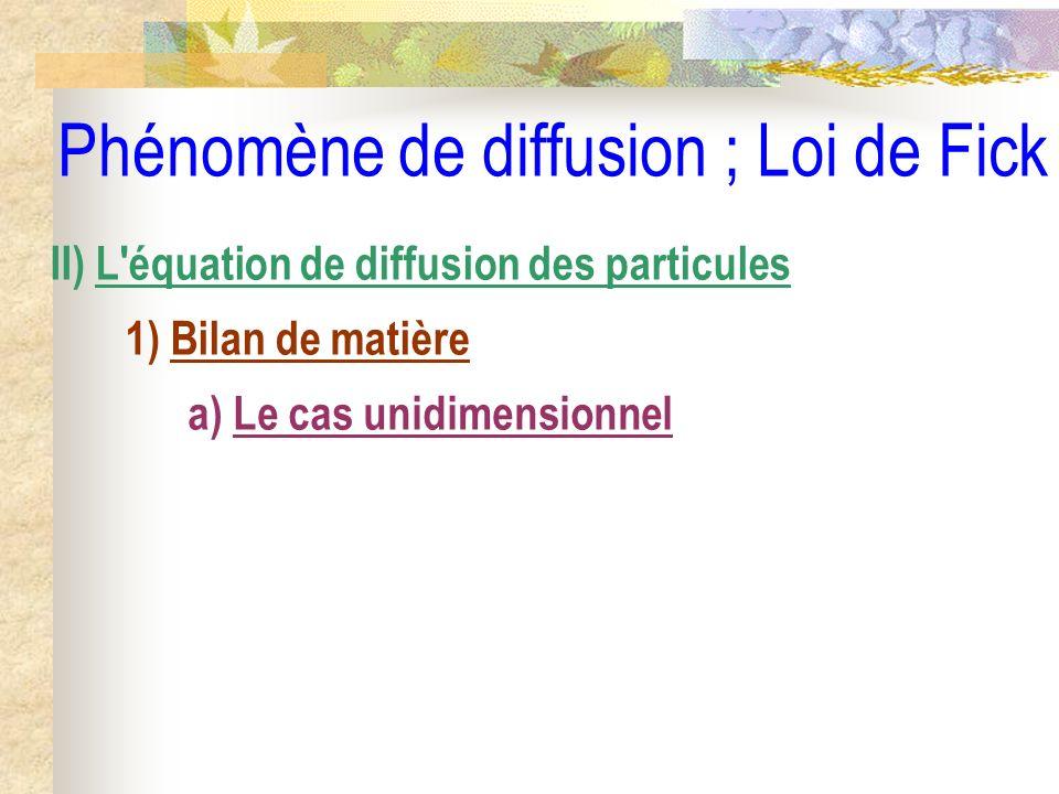 Phénomène de diffusion ; Loi de Fick II) L'équation de diffusion des particules 1) Bilan de matière a) Le cas unidimensionnel