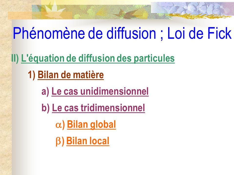Phénomène de diffusion ; Loi de Fick II) L'équation de diffusion des particules 1) Bilan de matière a) Le cas unidimensionnel b) Le cas tridimensionne