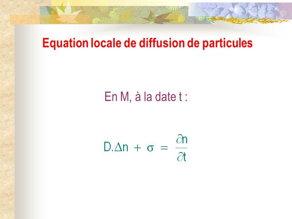 En M, à la date t : Equation locale de diffusion de particules