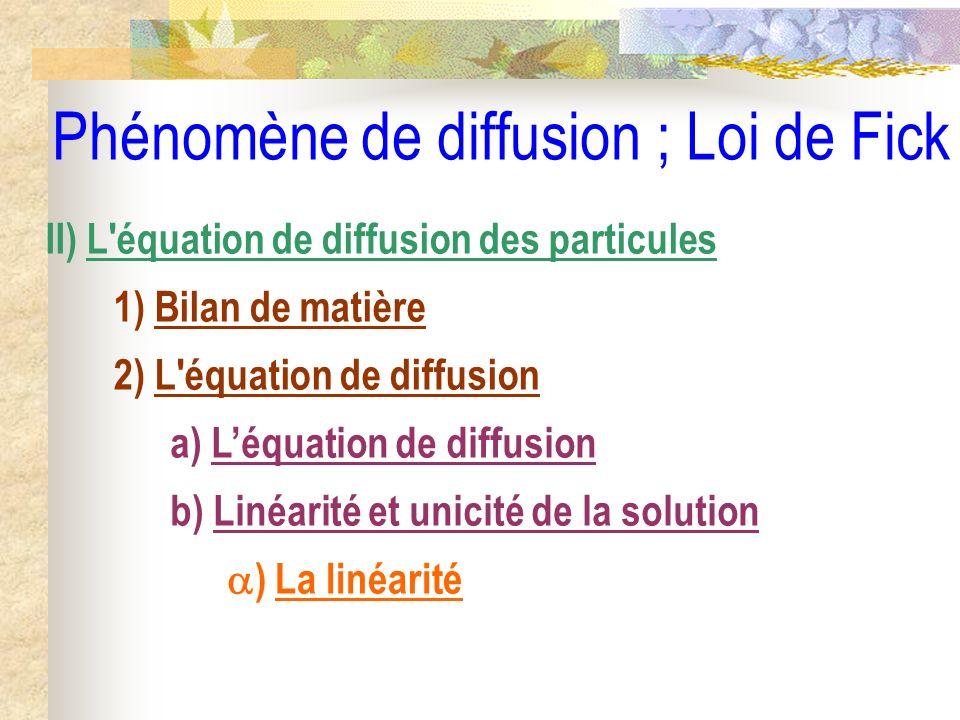 Phénomène de diffusion ; Loi de Fick II) L'équation de diffusion des particules 1) Bilan de matière 2) L'équation de diffusion a) Léquation de diffusi