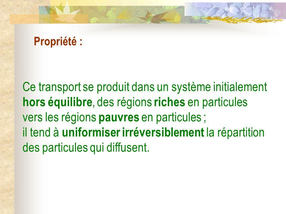 Propriété : Ce transport se produit dans un système initialement hors équilibre, des régions riches en particules vers les régions pauvres en particul