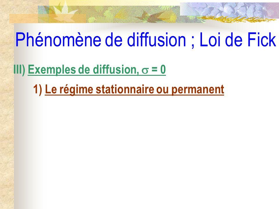 Phénomène de diffusion ; Loi de Fick III) Exemples de diffusion, = 0 1) Le régime stationnaire ou permanent