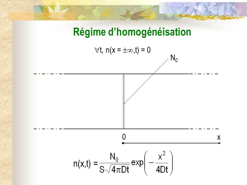 N0N0 t, n(x =,t) = 0 Régime dhomogénéisation 0 x n(x,t) =