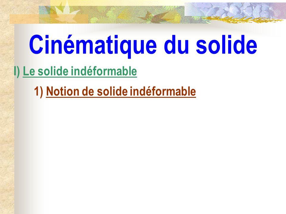 Cinématique du solide I) Le solide indéformable 1) Notion de solide indéformable