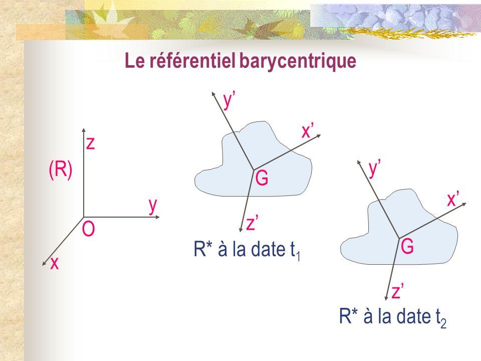 Le référentiel barycentrique O x y z (R) G x y z R* à la date t 1 G x y z R* à la date t 2