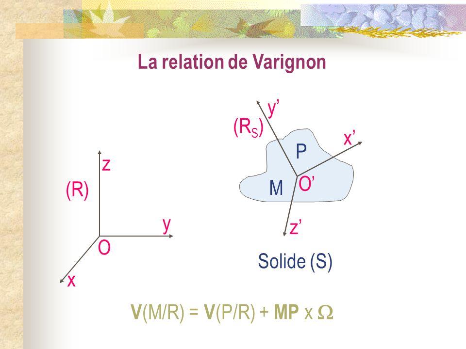 O x y z (R S ) Solide (S) La relation de Varignon O x y z (R) M P V (M/R) = V (P/R) + MP x