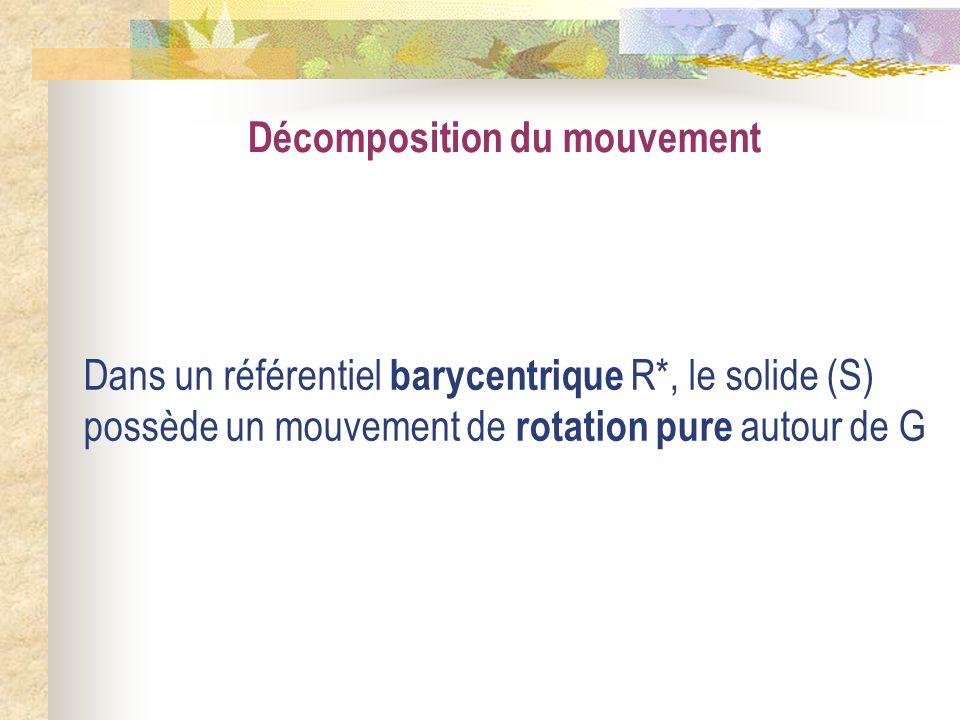 Décomposition du mouvement Dans un référentiel barycentrique R*, le solide (S) possède un mouvement de rotation pure autour de G