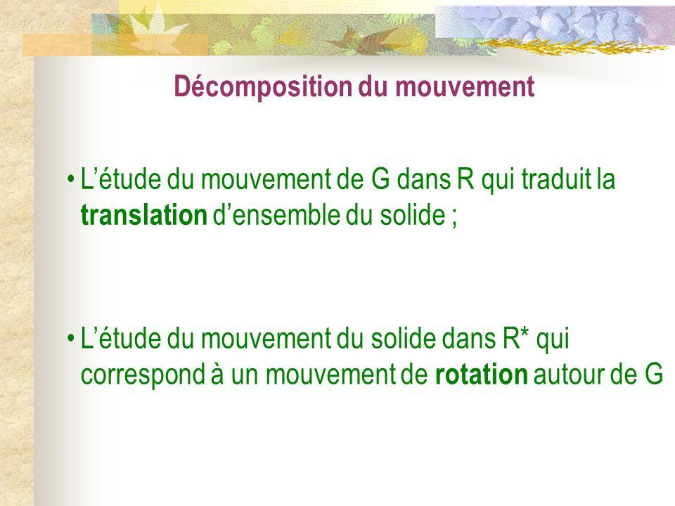 Décomposition du mouvement Létude du mouvement de G dans R qui traduit la translation densemble du solide ; Létude du mouvement du solide dans R* qui
