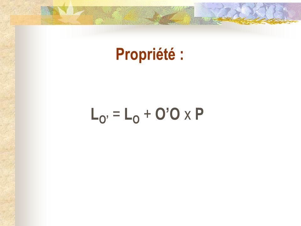 L O = L O + OO x P Propriété :