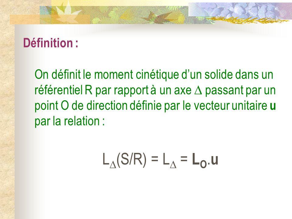 Définition : L (S/R) = L = L O. u On définit le moment cinétique dun solide dans un référentiel R par rapport à un axe passant par un point O de direc