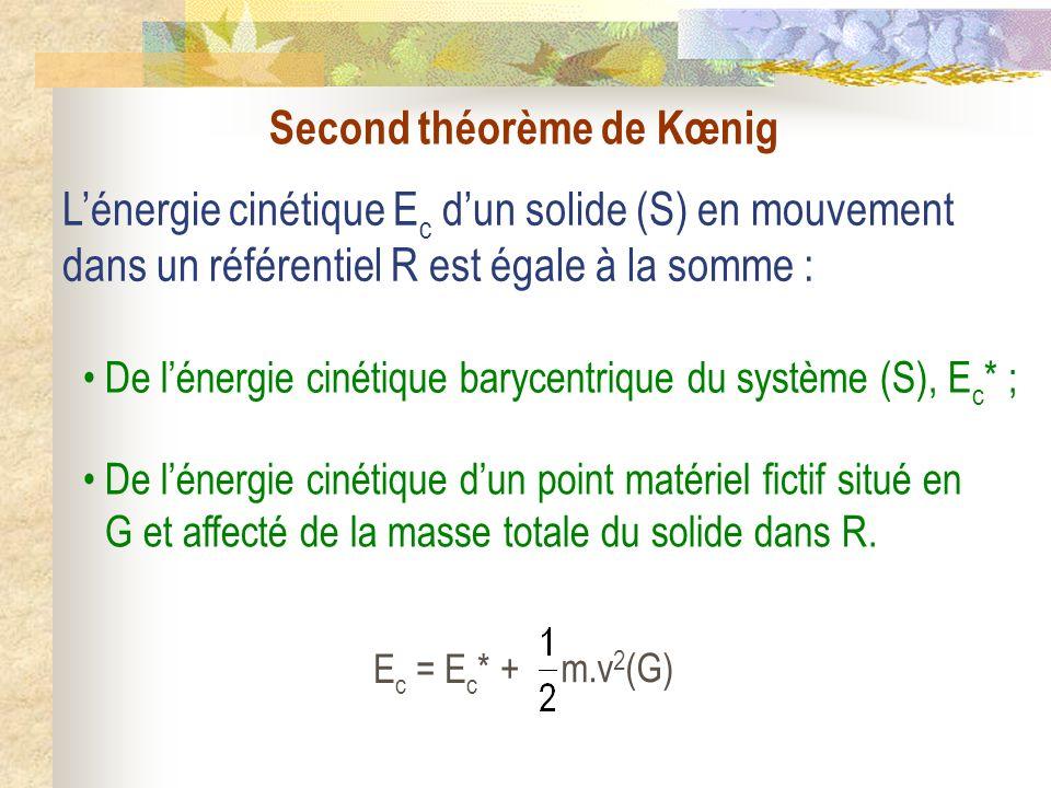 Second théorème de Kœnig Lénergie cinétique E c dun solide (S) en mouvement dans un référentiel R est égale à la somme : De lénergie cinétique barycen