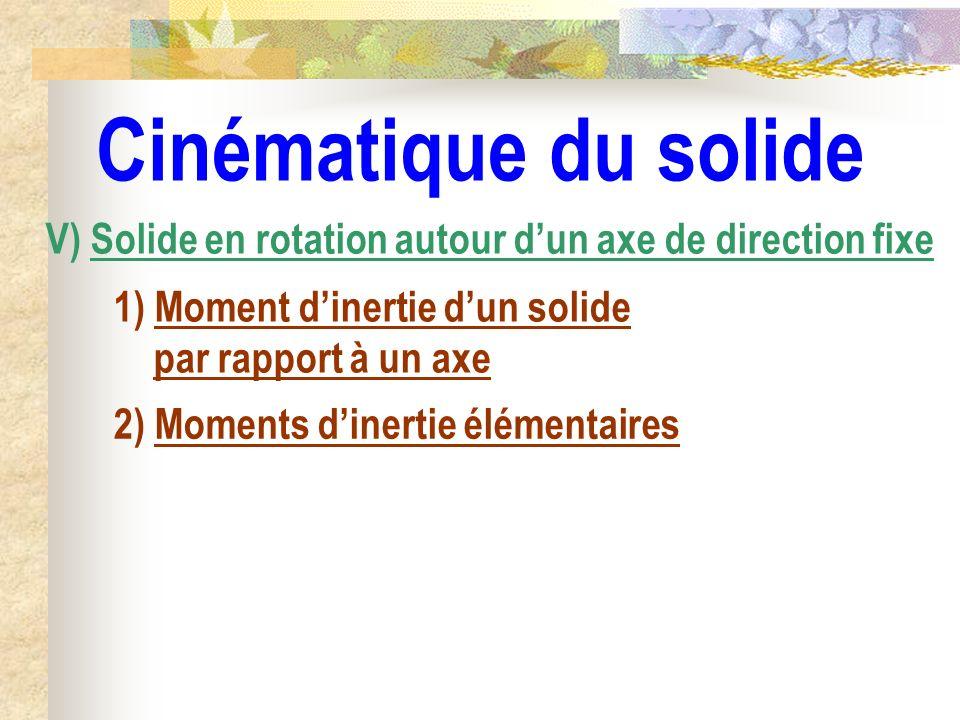 Cinématique du solide V) Solide en rotation autour dun axe de direction fixe 1) Moment dinertie dun solide par rapport à un axe 2) Moments dinertie él