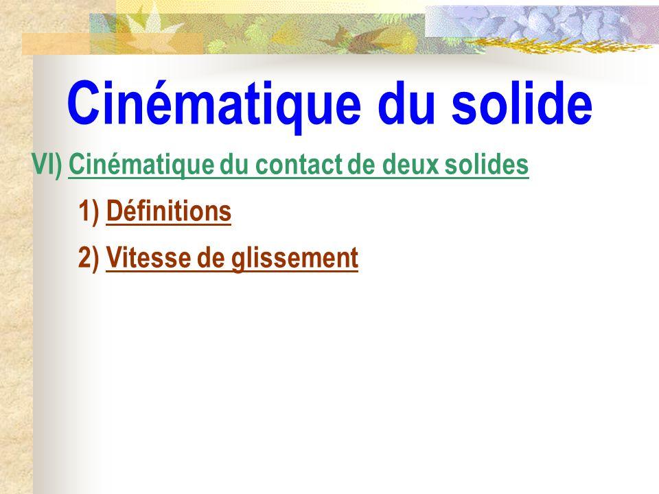 Cinématique du solide VI) Cinématique du contact de deux solides 1) Définitions 2) Vitesse de glissement