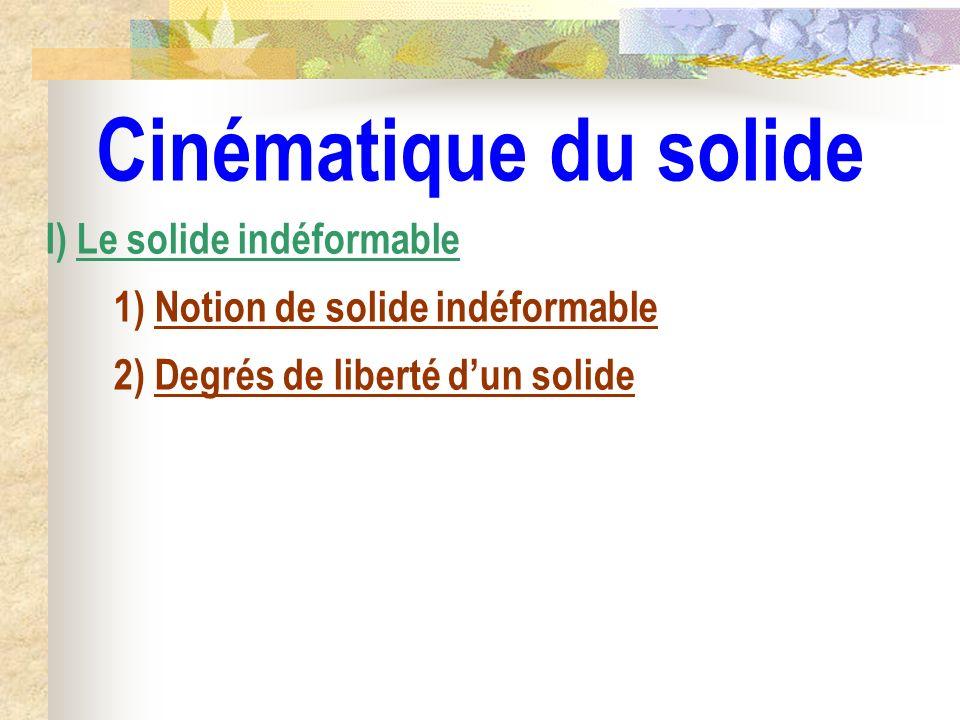 Cinématique du solide I) Le solide indéformable 1) Notion de solide indéformable 2) Degrés de liberté dun solide